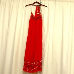 Long red embroidered dress